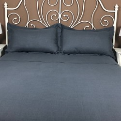 Pillowcase Oxford Linen Atlanta Charcoal Showing Both on Bed