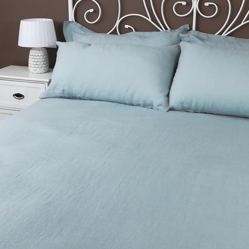 Fitted Sheet Linen Atlanta Slate with Pillowcases