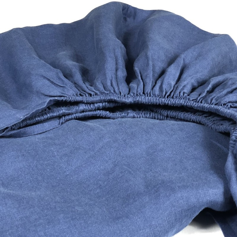 Fitted Sheet Linen Atlanta Blue