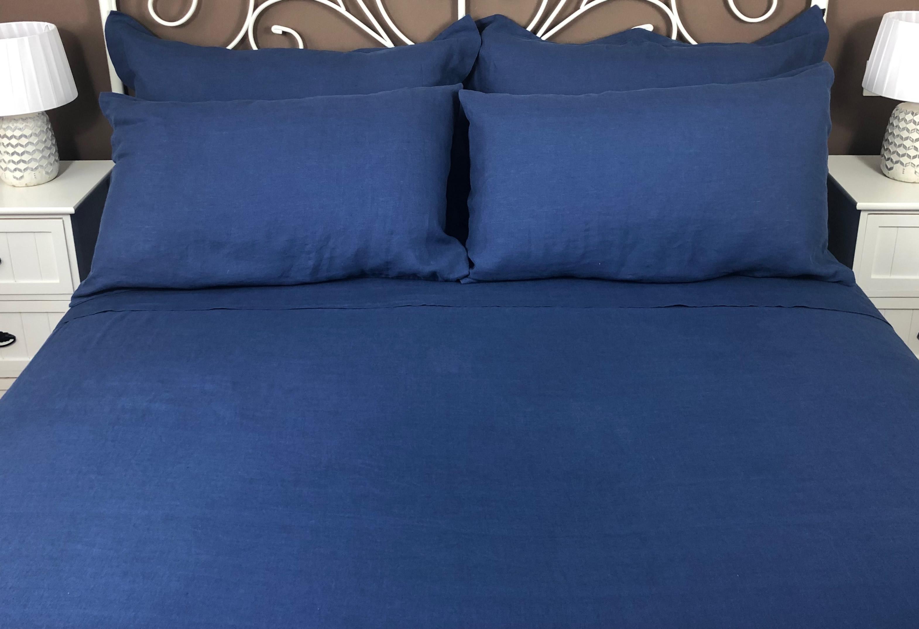 high quality linen flat sheet in blue