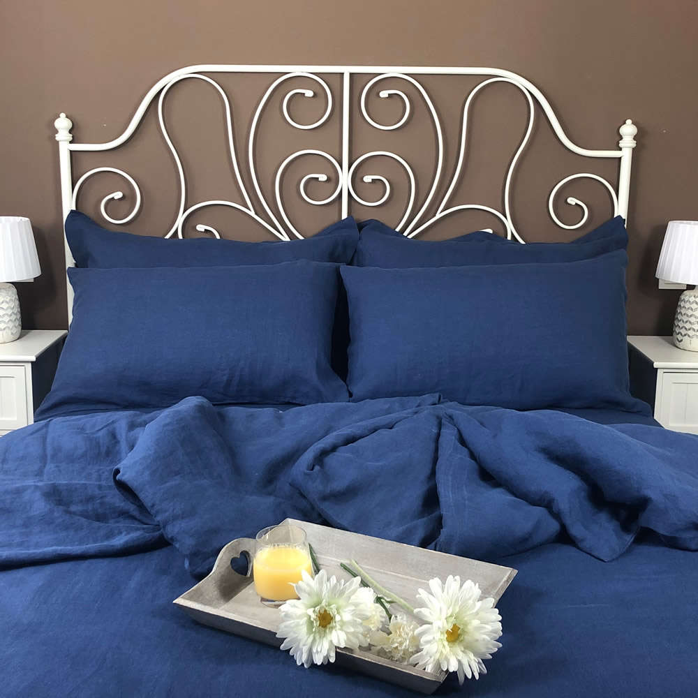 Top quality blue linen flat sheet from the Atlanta Colours Collection