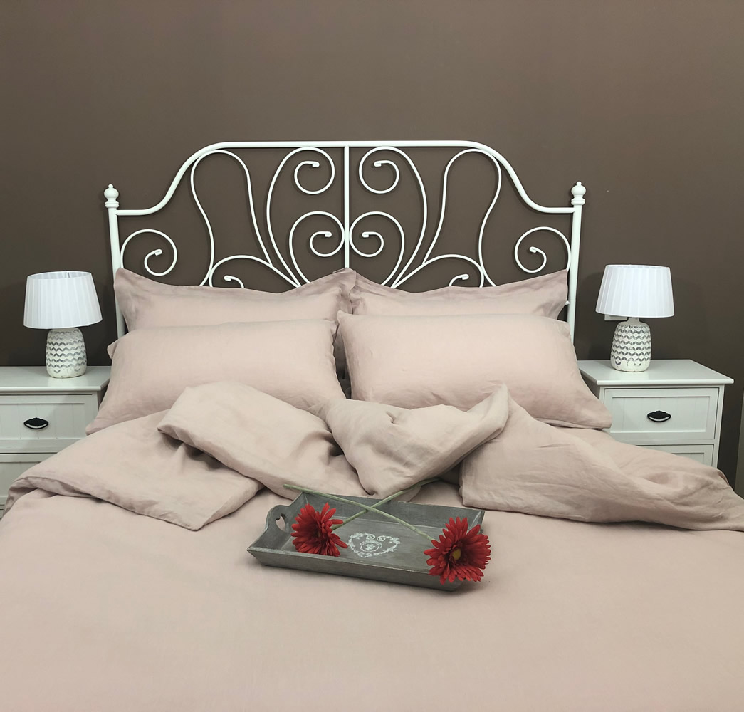 high quality linen flat sheet in a pink rose colour